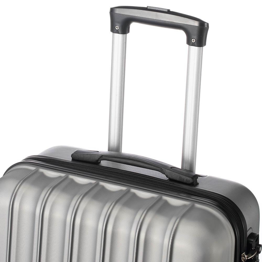 Suitcase 3pcs Large Capacity Traveling Storage Plastic Metal Silver &Gray